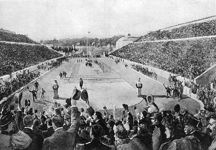 Louis_entering_Kallimarmaron_at_the_1896_Athens_Olympics